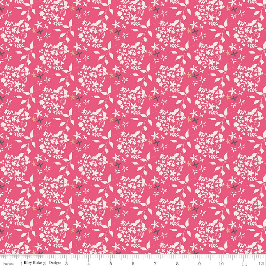 Someday Hot Pink Flowers yardage by Minki Kim for Riley Blake Designs