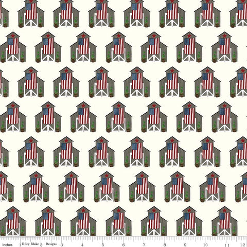 Celebrate America Cream Barns Yardage by Echo Park Paper Co. for Riley Blake Designs