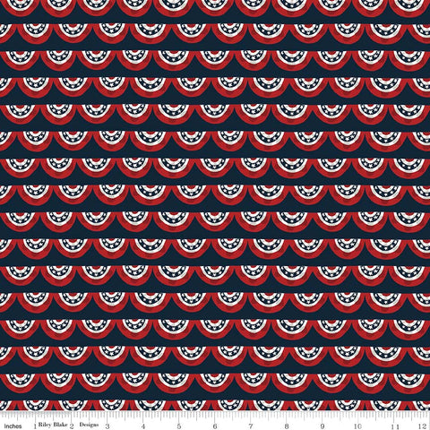 Celebrate America Navy Banners Yardage by Echo Park Paper Co. for Riley Blake Designs