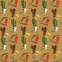Cowboy Country Tan Gear Yardage by Carta Bella for Riley Blake