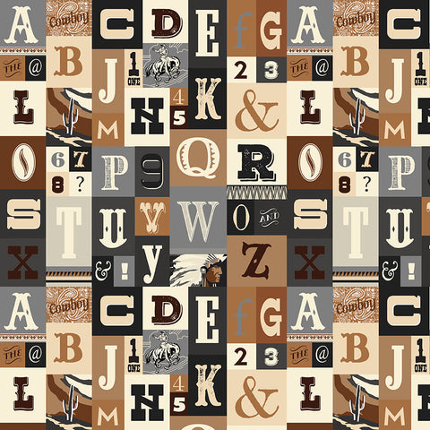 Cowboy Country Brown Alpha Yardage by Carta Bella for Riley Blake