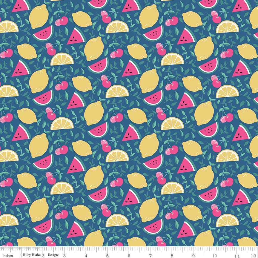 I'd Rather Be Glamping Blue Fruit Yardage by Dani Mogstad for Riley Blake Designs