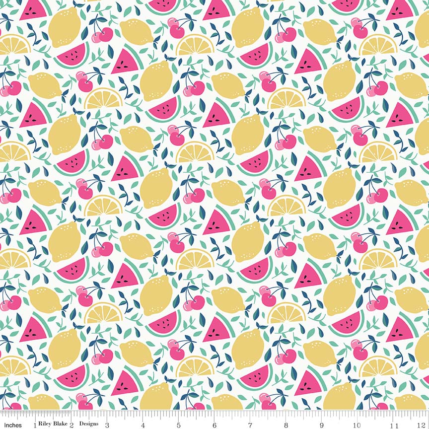 I'd Rather Be Glamping Cream Fruit Yardage by Dani Mogstad for Riley Blake Designs