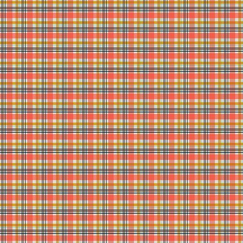 Golden Days Coral Plaid Yardage by Fancy Pants Designs for Riley Blake Designs