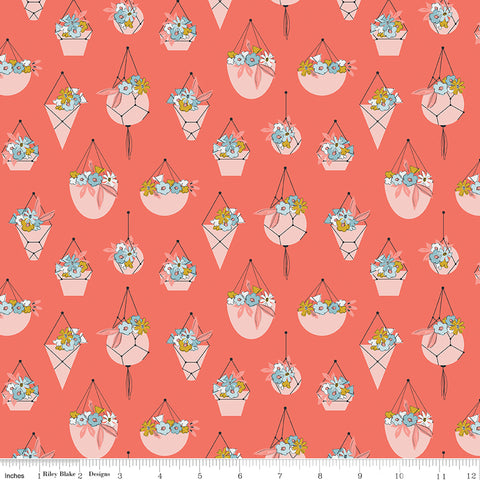 Petals and Pots Coral Pots Yardage by Gabrielle Neil for Riley Blake Designs