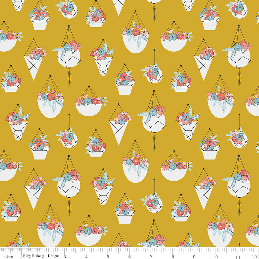 Petals and Pots Mustard Pots Yardage by Gabrielle Neil for Riley Blake Designs