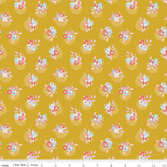 Petals and Pots Mustard Floral Yardage by Gabrielle Neil for Riley Blake Designs