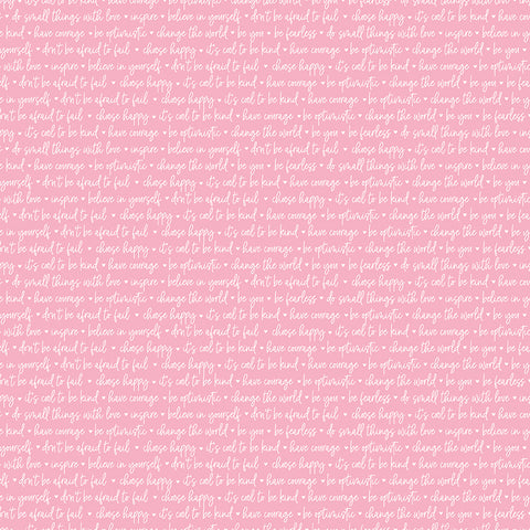 Winifred Rose Pink Text Yardage by Christopher Thompson for Riley Blake Designs