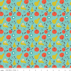 On The Bright Side Teal Fruit Yardage by Sandy Gervais for Riley Blake