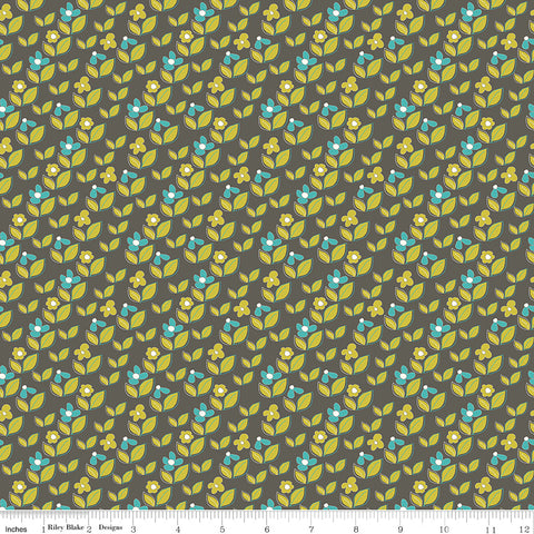 On The Bright Side Graphite Leaf Floral Yardage by Sandy Gervais for Riley Blake