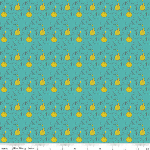 On The Bright Side Teal Apples Yardage by Sandy Gervais for Riley Blake