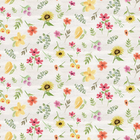 Homestead Life Cream Flowers Yardage by Tara Reed for Riley Blake Designs