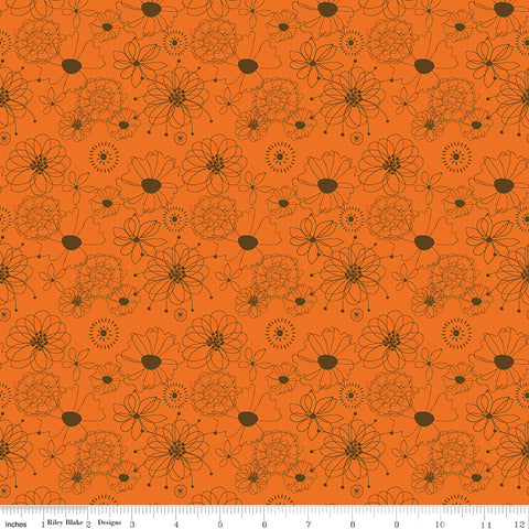 Give Thanks Orange Flowers yardage by Sandy Gervais for Riley Blake Designs