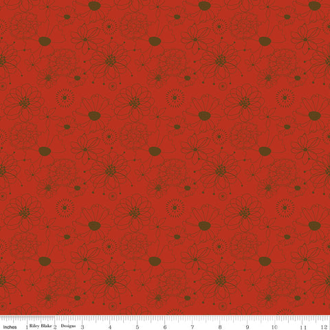 Give Thanks Red Flowers yardage by Sandy Gervais for Riley Blake Designs