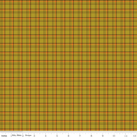 Give Thanks Olive Plaid yardage by Sandy Gervais for Riley Blake Designs