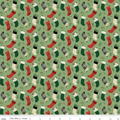Christmas Traditions Green Stockings Yardage by Dani Mogstad for Riley Blake Designs