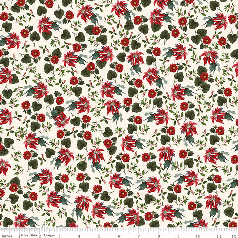 Yuletide Cream Poinsettias yardage by My Mind