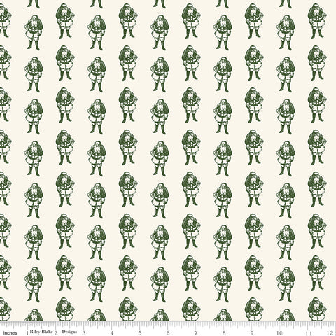 Yuletide Green Santas yardage by My Mind