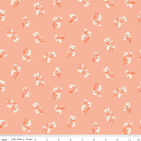 Midsummer Meadow Salmon Blossom Yardage by Katherine Lenius for Riley Blake Designs