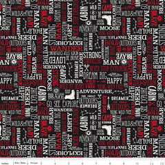 Wild At Heart Black Words Yardage by Lori Whitlock for Riley Blake Designs