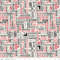 Wild At Heart Cream Words Yardage by Lori Whitlock for Riley Blake Designs