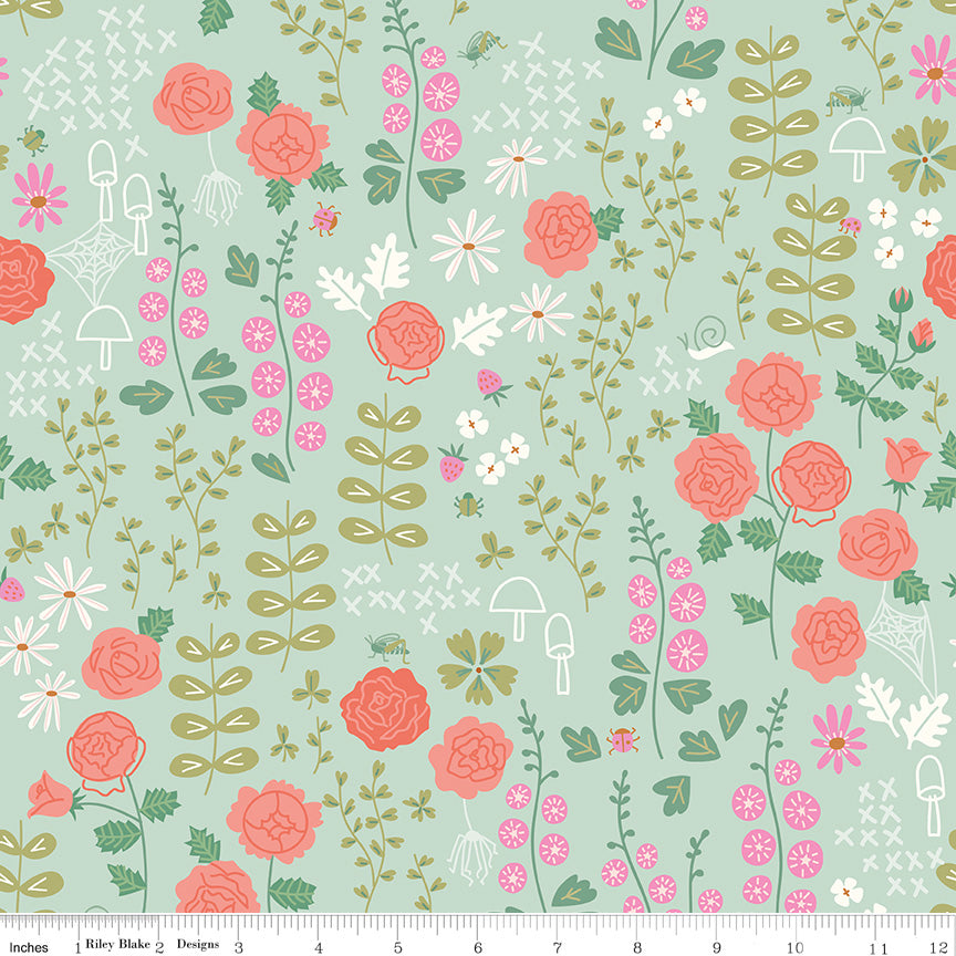 New Dawn Mint Rose Garden Yardage by Citrus & Mint for Riley Blake Designs