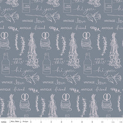 Idyllic Gray Text Yardage by Minki Kim for Riley Blake Designs
