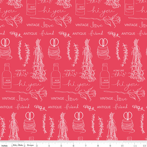 Idyllic Raspberry Text Yardage by Minki Kim for Riley Blake Designs