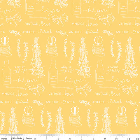 Idyllic Yellow Text Yardage by Minki Kim for Riley Blake Designs