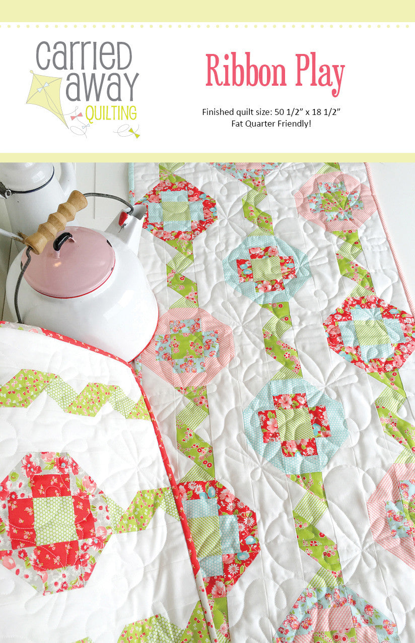 Ribbon Play Table Runner Pattern by Taunja Kelvington of Carried Away Quilting