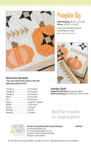 Pumpkin Sky Mini Quilt & Pillow Pattern by Taunja Kelvington of Carried Away Quilting