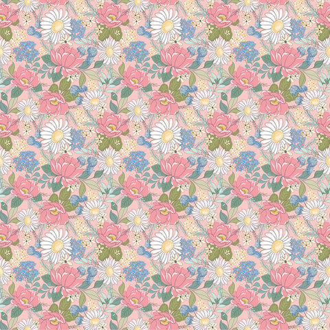 Country Roads Pink Country Roads Yardage by Lori Woods for Poppie Cotton Fabrics