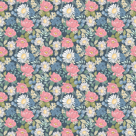 Country Roads Navy Country Roads Yardage by Lori Woods for Poppie Cotton Fabrics