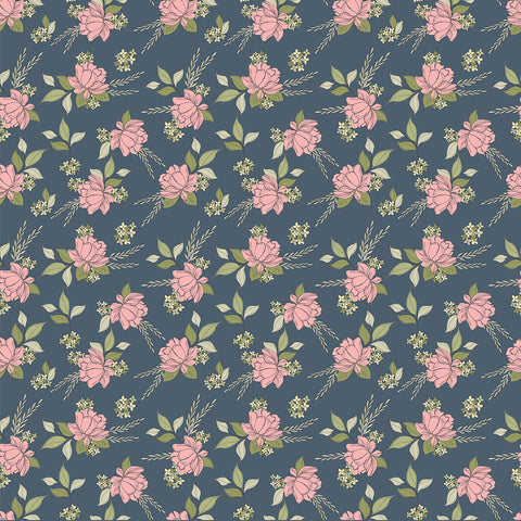Country Roads Navy Shenandoa Yardage by Lori Woods for Poppie Cotton Fabrics