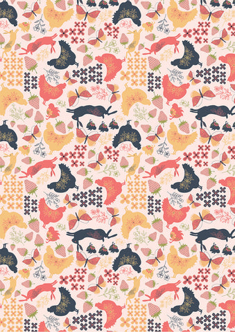 Daisy Mae Pink Country Life Yardage by Lori Woods for Poppie Cotton Fabrics