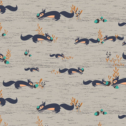 Little Forester Fusion Squirrels At Play Forester Yardage by Bonnie Christine for Art Gallery Fabrics