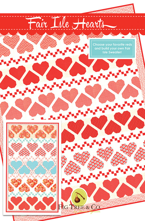 Fair Isle Hearts Quilt Pattern by Fig Tree & Co