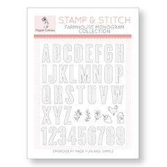 Stamp and Stitch Farmhouse Monogram Collection by Poppie Cotton