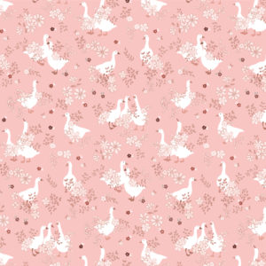 Goose Creek Gardens Pink Goose Pond Yardage by Lori Woods for Poppie Cotton Fabrics