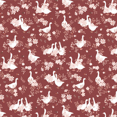 Goose Creek Gardens Red Goose Pond Yardage by Lori Woods for Poppie Cotton Fabrics