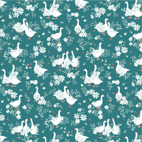 Goose Creek Gardens Teal Goose Pond Yardage by Lori Woods for Poppie Cotton Fabrics