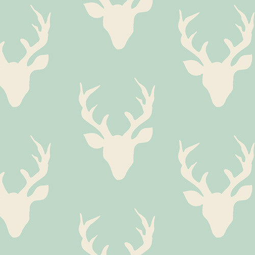 Hello Bear Mint Buck Forest Yardage by Bonnie Christine for Art Gallery Fabrics