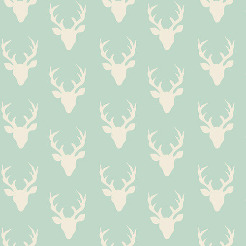 Hello Bear Mint Tiny Buck Forest Yardage by Bonnie Christine for Art Gallery Fabrics