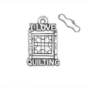 I Love Quilting Zipper Pull or Sewing Charm