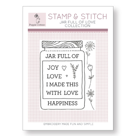 Stamp and Stitch Jar Full of Love Embroidery Stamp by Poppie Cotton