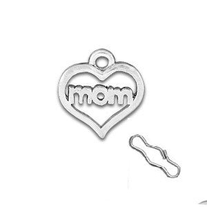 Mom Heart Zipper Pull or Sewing Charm