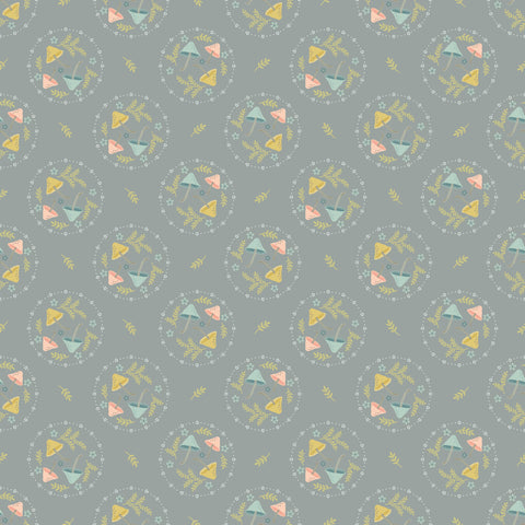 Woodland Songbirds Gray Mushroom Toss Yardage by Lori Woods for Poppie Cotton Fabrics