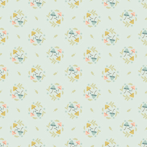Woodland Songbirds Light Blue Mushroom Toss Yardage by Lori Woods for Poppie Cotton Fabrics
