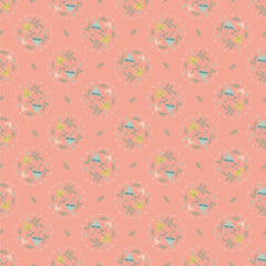 Woodland Songbirds Peach Mushroom Toss Yardage by Lori Woods for Poppie Cotton Fabrics