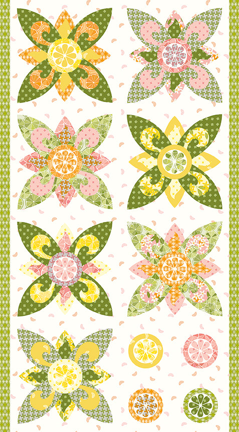 Grove White Flower Panel by Jill Finley for Riley Blake Designs